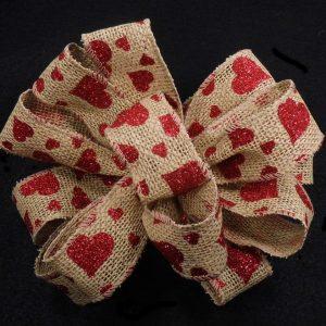 burlap heart ribbon