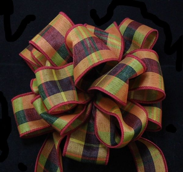 wired plaid ribbon