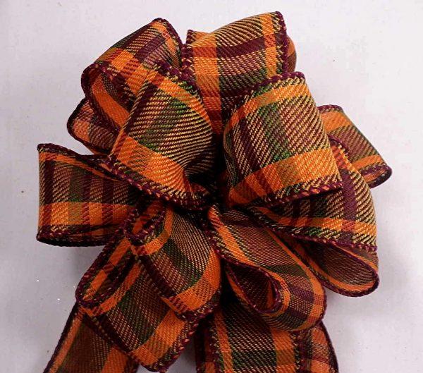 orange plaid ribbon