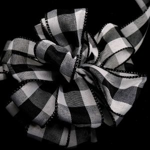 Black and White Plaid Ribbon