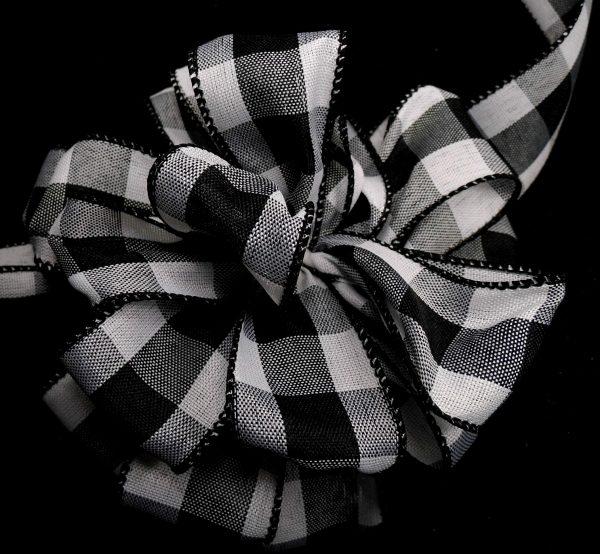 Black and White Plaid Ribbon