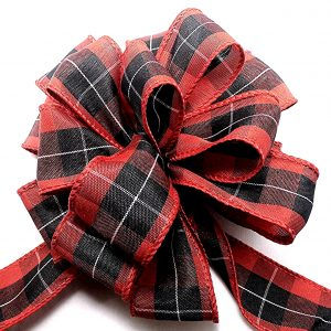 black and red plaid ribbon