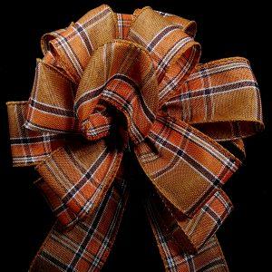 wired orange plaid ribbon