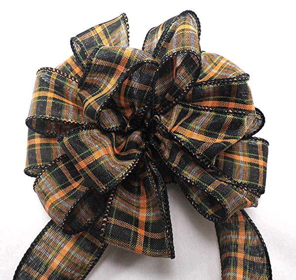 wired black plaid ribbon