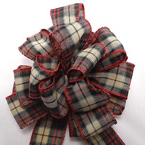 red and beige plaid ribbon