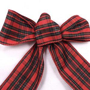 wired plaid stripe ribbon