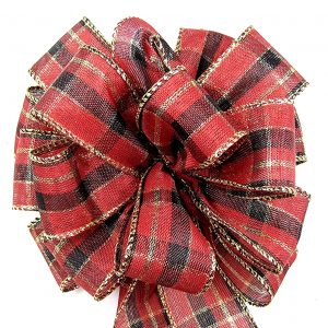 metallic red plaid ribbon