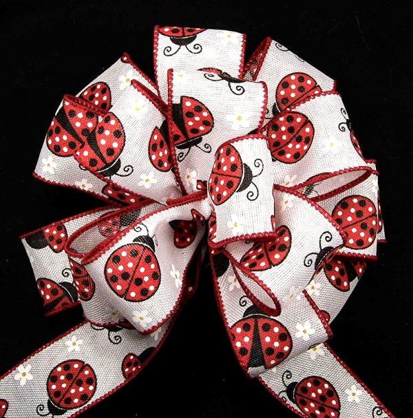 ladybug ribbon white