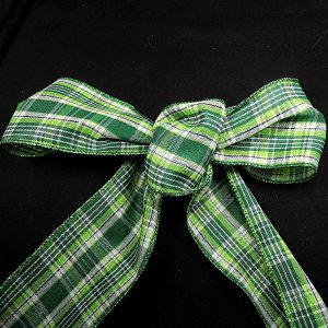 wired green plaid ribbon