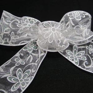 sheer floral ribbon